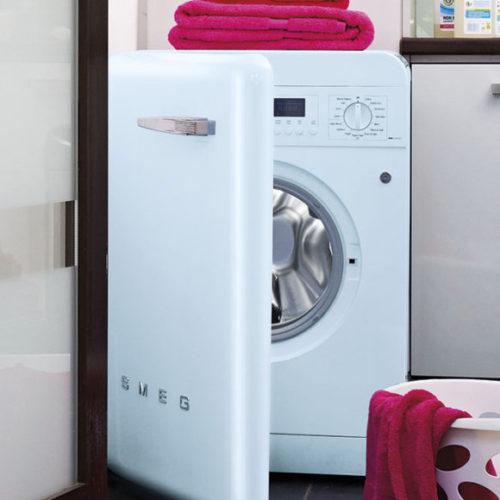 фото Комплект техники в стиле ретро. Стиральная и посудомоечная машина, холодильник. Smeg, Италия