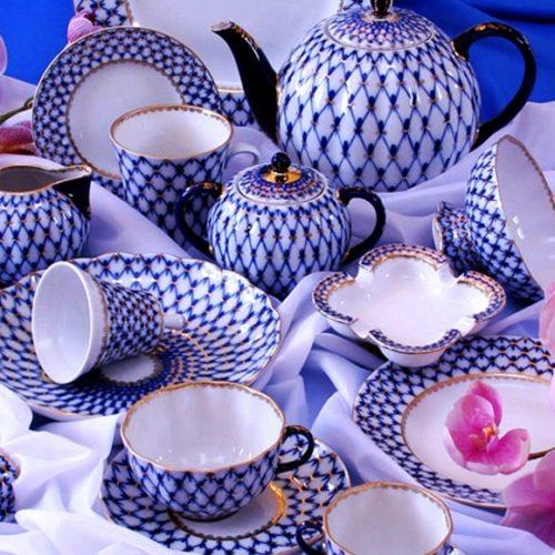 Чайный сервиз, Императорский фарфоровый завод. Декор «Кобальтовая сетка». форма «Тюльпан»