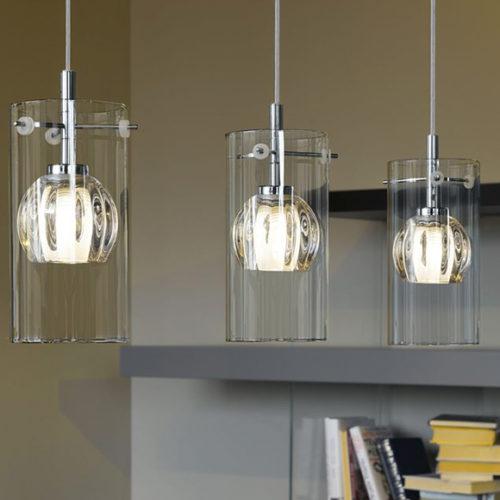 Подвесной светильник. Прозрачное стекло, металл. Коллекция Ricabo