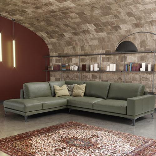 фото Диван угловой. Натуральная кожа. Цвет оливковый. Коллекция Camella, Италия