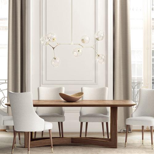 фото Комплект меблів для їдальні. Стіл обідній і стільці. Натуральне дерево, шкіра. Колекція Avalon, Португалія