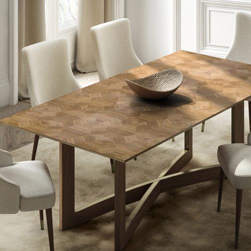 фото Комплект меблів для їдальні. Обідній стіл та стільці. Натуральне дерево, ручна робота та інтарсія по дереву. Колекція Avalon Португалія