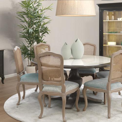 фотоМеблі для їдальні. Обідній стіл, стільці, креденс і буфет Francis. Ручна робота, Португалія