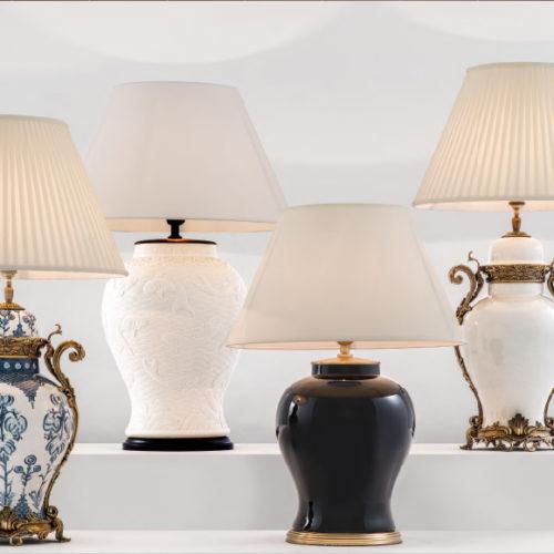 Коллекция настольных ламп Armand и Dupoint. Эмаль, бронза, плиссированная ткань