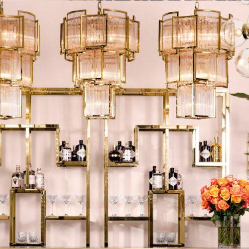 Люстра дизайнерская. Прозрачное стекло, отделка под золото. Коллекция Jet Set, Голландия