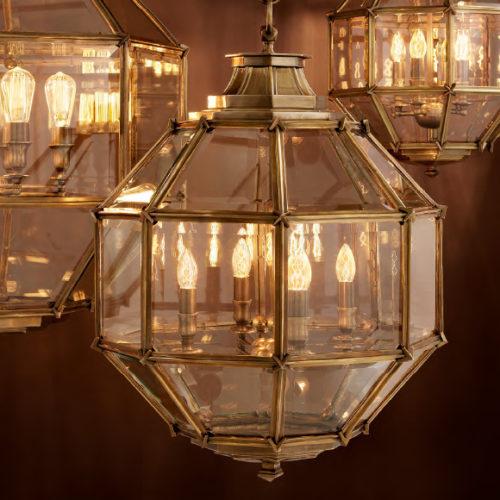 Люстра — фонарь. Граненное стекло, отделка под золото и никель
