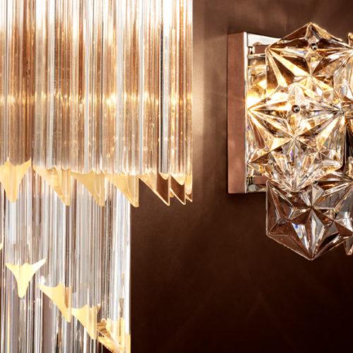 Светильники настенные. Прозрачное стекло, отделка под золото и никель