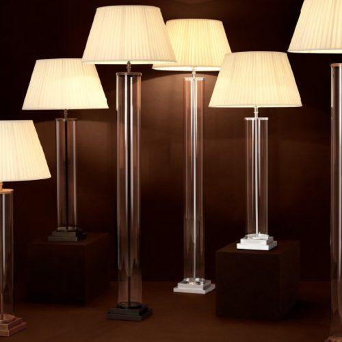 Лампа настольная. Прозрачное стекло, отделка бронзой, плиссированная ткань. Коллекции Philips