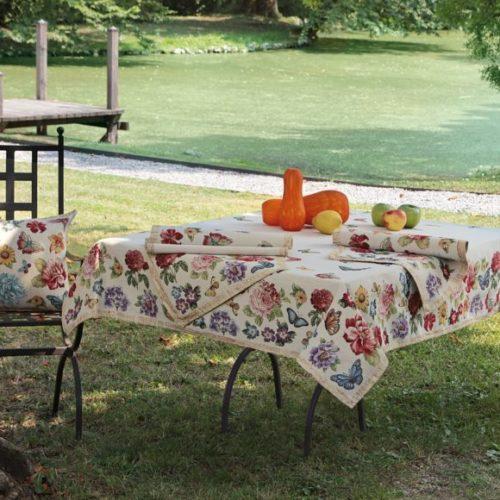 Комплект домашнього текстилю Home. Скатертина, раннери, серветки, подушки з гобелену. Італія