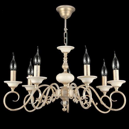 Люстра. Металл, окрашенный в перламутровый цвет. Лампы в виде свечи на ветру. Коллекция Perla