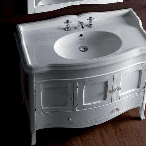 Фото Мебель для ванной комнаты. Тумба с накладной раковиной. Коллекция Arcade Bianco, Италия