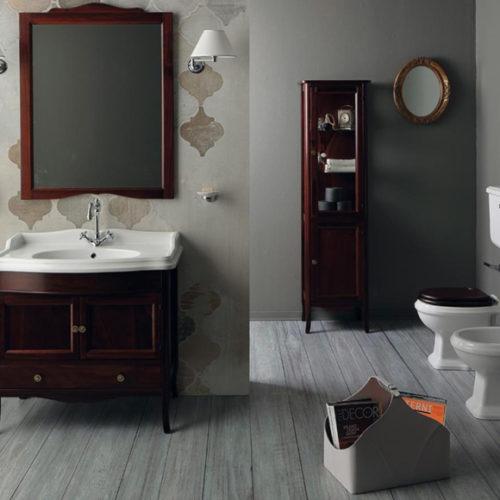 Фото Комплект для ванной комнаты. Тумба с раковиной, зеркало, пенал. Коллекция Arcade, Италия