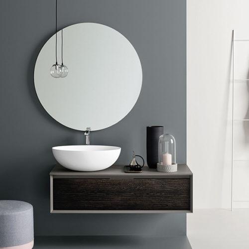 Фото Комплект мебели для ванной комнаты, зеркало и раковина. Коллекция Materia, Италия