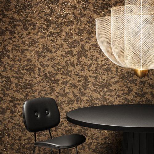 Обои флизелиновые. Верхнний слой выполнен из фольги, пробкового дерева и флока. Имитация меха леопарда. Коллекция Leopard, Бельгия