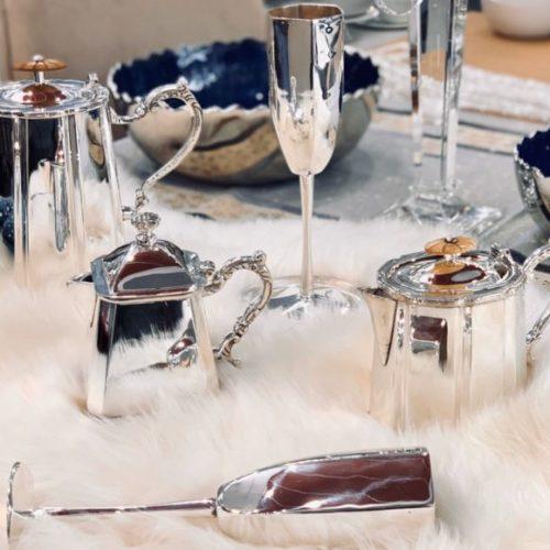 Чайник, молочник, сахарница, бокалы. Шеффилдское посеребрение в 12 карат. Royal Family, Итали