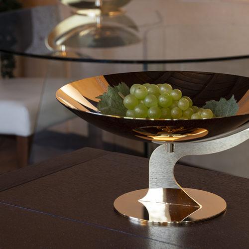 Фруктовница. Полированная сталь. Покрытие золотом 24К от Elleffe Design. Коллекция Eleganza, Италия