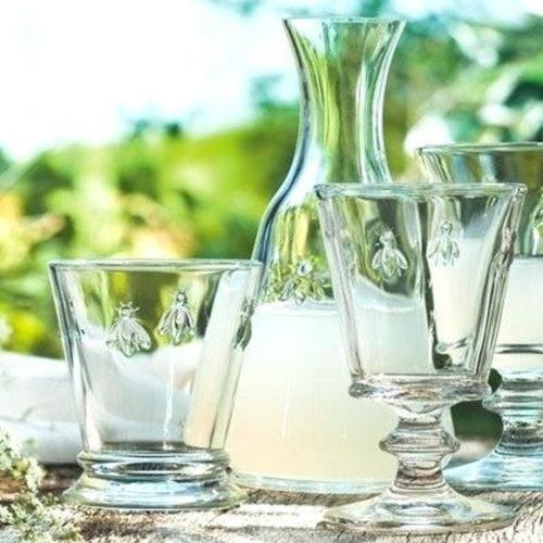 Графин і склянки для води. Кольорове скло La Rochere. Колекція Аbeille, Франція