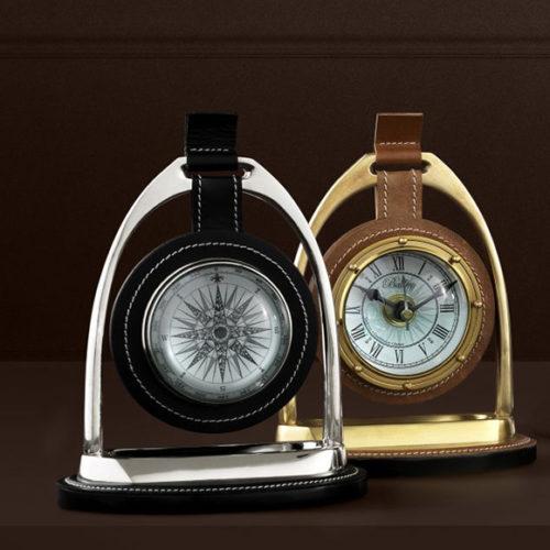 фото Декор. Годинники настільні й компас. Латунь, метал, шкіра, скло. Колекція Bailey, Голландія