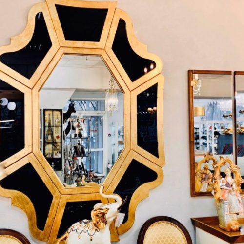 фото Люстерко. Дерев'яна рама, чорне скло з золотим патинуванням. Ексклюзивний авторський дизайн. Колекція Butterfly, Італія