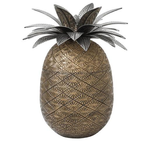 фото Ваза з кришкою у вигляді ананаса. Латунь з античної мідної та срібною обробкою. Колекція Pineapple, Голландія