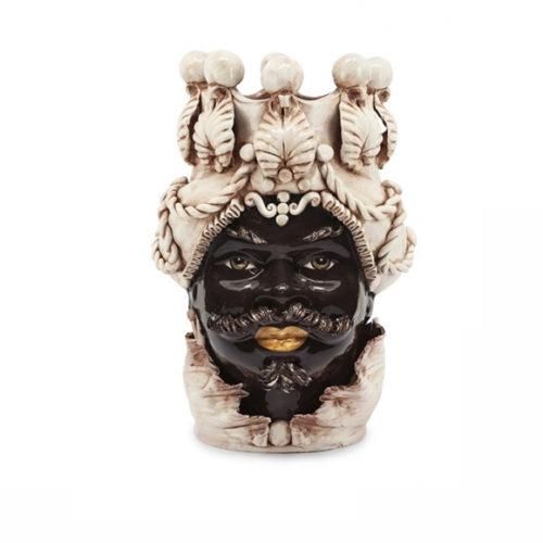 фото Ваза керамічна у вигляді голови Мавра. Ручна робота. Колекція Sicillia, Італія