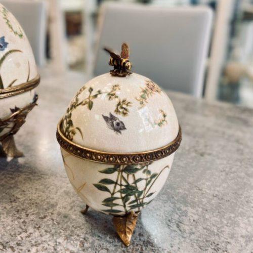 Ваза для джема. Керамика с декоративным эффектом «под старину», латунь. Ручная работа. Royal Family, Италия