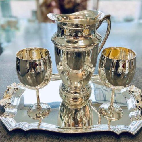 Элегантный поднос, графин, бокалы и чайник. Посеребрение 12 карат. Royal Family, Итали