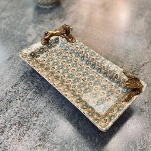 Блюдо прямоугольное на ножках из латуни. Керамика с декоративным эффектом «под старину». Ручная работа. Royal Family, Италия