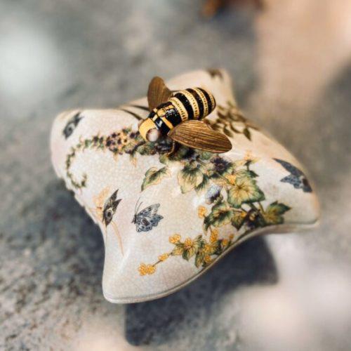Ваза с крышечкой для меда. Керамика с декоративным эффектом «под старину». Ручная роспись. Royal Family, Италия