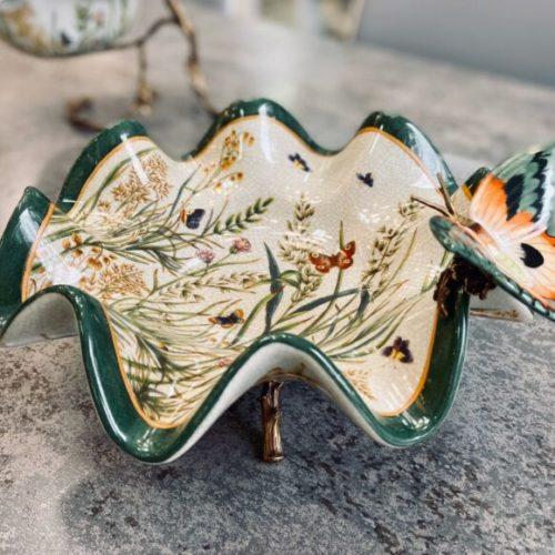 Конфетница. Керамика с декоративным эффектом «под старину». Ручная работа. Royal Family, Италия
