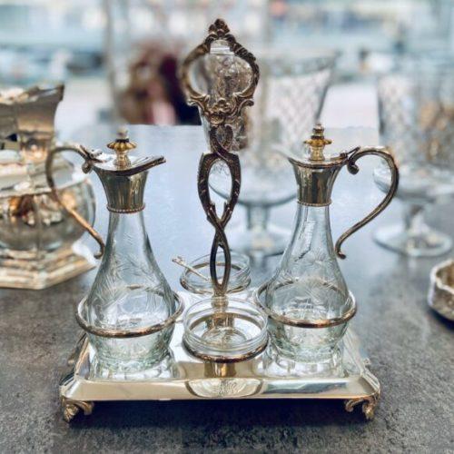Набор для сервировки стола. Соусники, миниатюрные пиалы с ложечками на подставке. Стекло, шеффилдское посеребрение в 12 карат. Royal Family, Италия