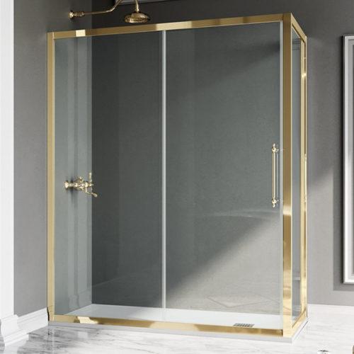 Фото Душевая кабина. Аллюминиевый профиль с отделкой под золото. Закаленное стекло. Коллекция Villa Borghese, Италия