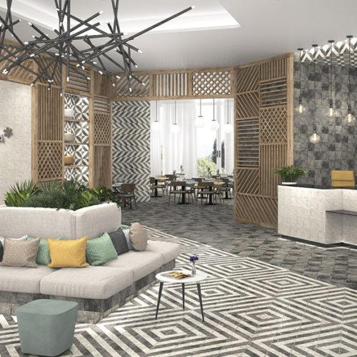 Плитка керамічна на стіну і підлогу з геометричним малюнком.