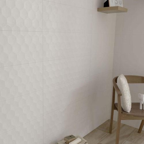 Плитка керамічна на стіну з ефектом 3D. Колекція White Collection, Іспанія