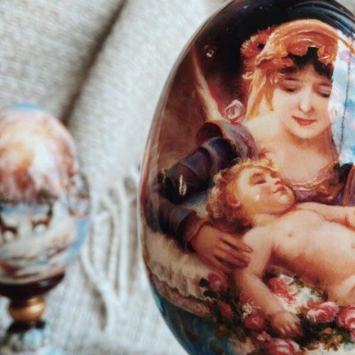 Яйце декоративне. Мініатюрний живопис. Дерево, олія. Ексклюзивна ручна робота. Майстерня раритетів Монахової, Україна