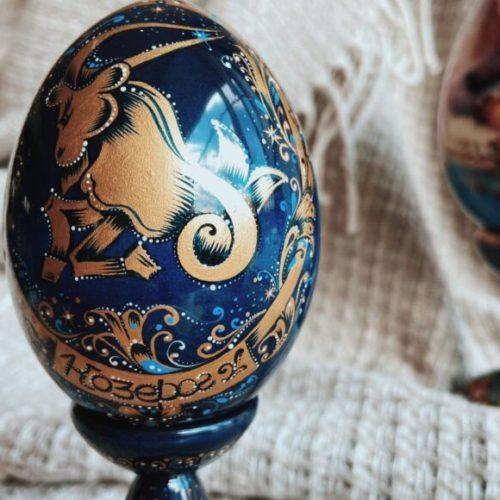 Яйце декоративне. Знаки зодіаку. Дерево липа, масло. Ручна робота. Майстерня раритетів Монахової, Україна