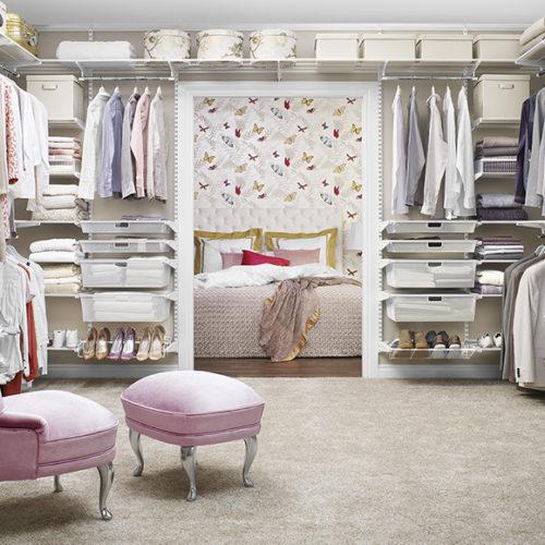 фото Гардеробная система для гардеробной комнаты с множеством полок, перегородок и ящиков. Гарантия 10 лет. Elfa, Швеция