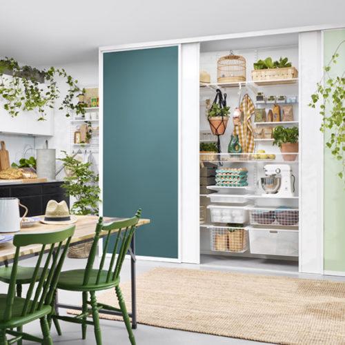 фото Система хранения вещей для шкафа-купе и открытая в кухне, столовой. Металлическая конструкция. Гарантия 10 лет. Elfa, Швеция