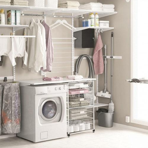 фото Система хранения вещей в ванной, прачечной. Металлическая конструкция. Гарантия 10 лет. Elfa, Швеция
