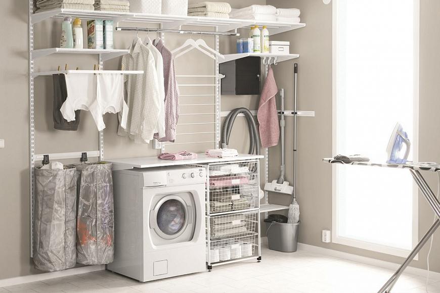 фото Система зберігання речей у ванній, пральні. Металева конструкція. Гарантія 10 років. Elfa, Швеція