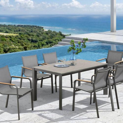 фотоМеблі для вулиці, тераси, саду. Стіл і стільці. Каркас з алюмінію, поверхня стола з керамічного скла. Колекція RONA, США