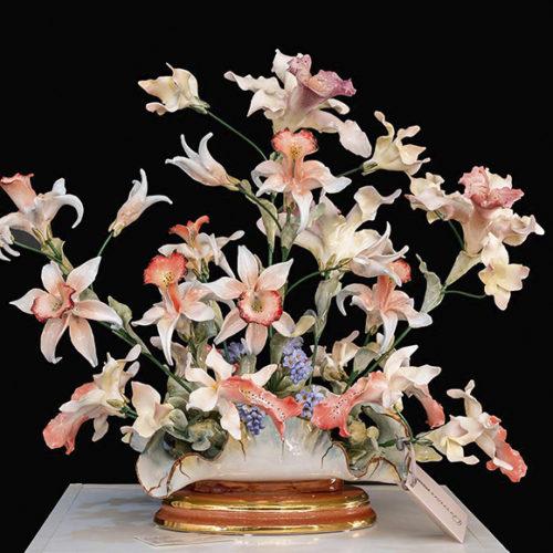 фото Квіти з порцеляни. Ручна робота. Оздоблення золотом 24К і платиною. Колекція Flowers, Італія