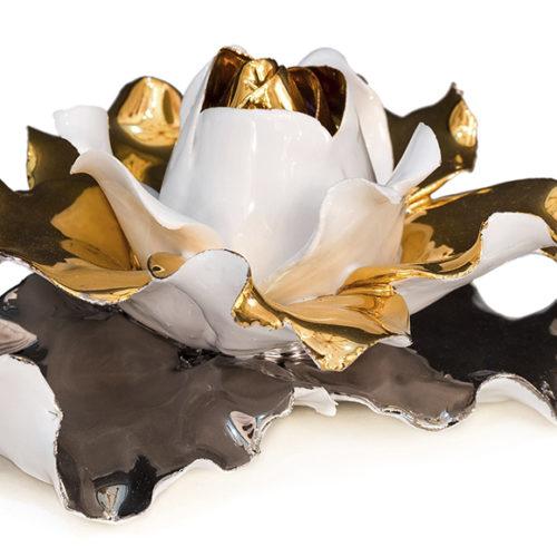 фото Декор. Роза ручної роботи. Фарфор, обробка золотом 24К. Колекція Sweet, Італія