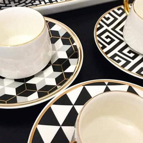 Чашка чайная и блюдце. Фарфор, позолота. Геометрический черно-белый рисунок. Коллекция Black&White, Henriette Италия