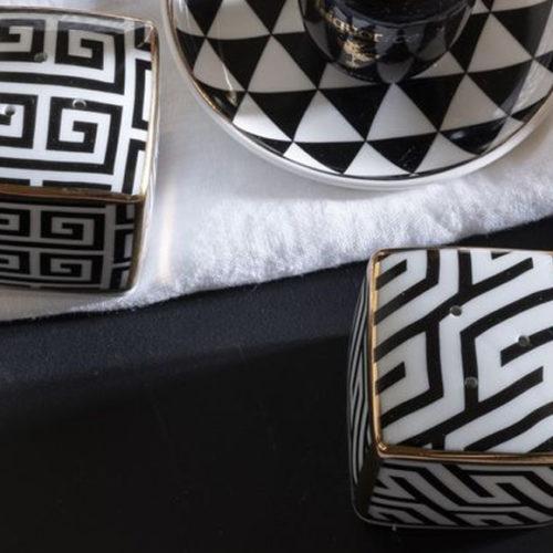 Набор для специй в красивой упаковке. Солонка и перечница. Фарфор, позолота. Коллекция Black&White, Италия