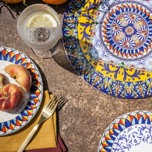 Блюда для сервировки стола. Итальянский фарфор, яркий геометрический рисунок. Henriette, Италия