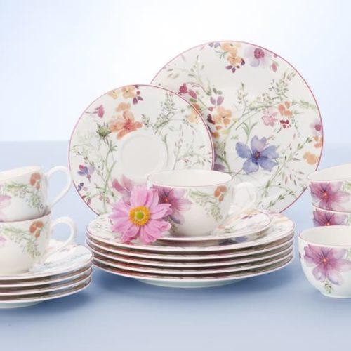 Фарфор премиум класса. Ассортимент включает кофейный, чайный, столовый сервизы, блюда, салатники, тарелки. Коллекция Mariefleur, Villeroy&Boch, Германия