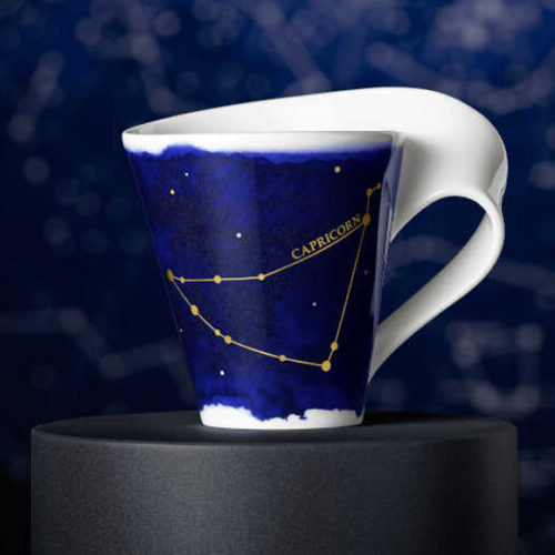 Чашка в подарочной упаковке. Костяной фарфор темно-синего цвета. Декор в виде 12 созвездий с золотым мерцанием. Коллекция NewWave Stars Villeroy&Boch, Германия