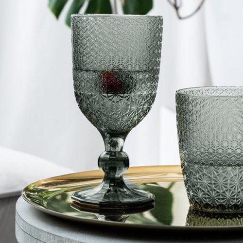 Колекція келихів для вина та води. Матове кольорове скло. Колекція Stars Henriette, Італія