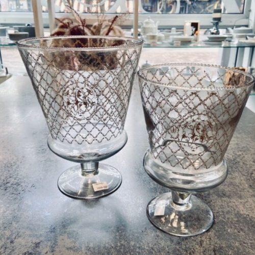 фото Вази на ніжці. Скло, декоративний геометричний малюнок. Royal Family, Італія